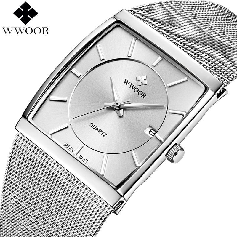 Top Brand Luxury Mens Watches Square Waterproof Stainless Steel Wristwatch Men Quartz Sport Watch Male Famous WWOOR Silver Clock купить