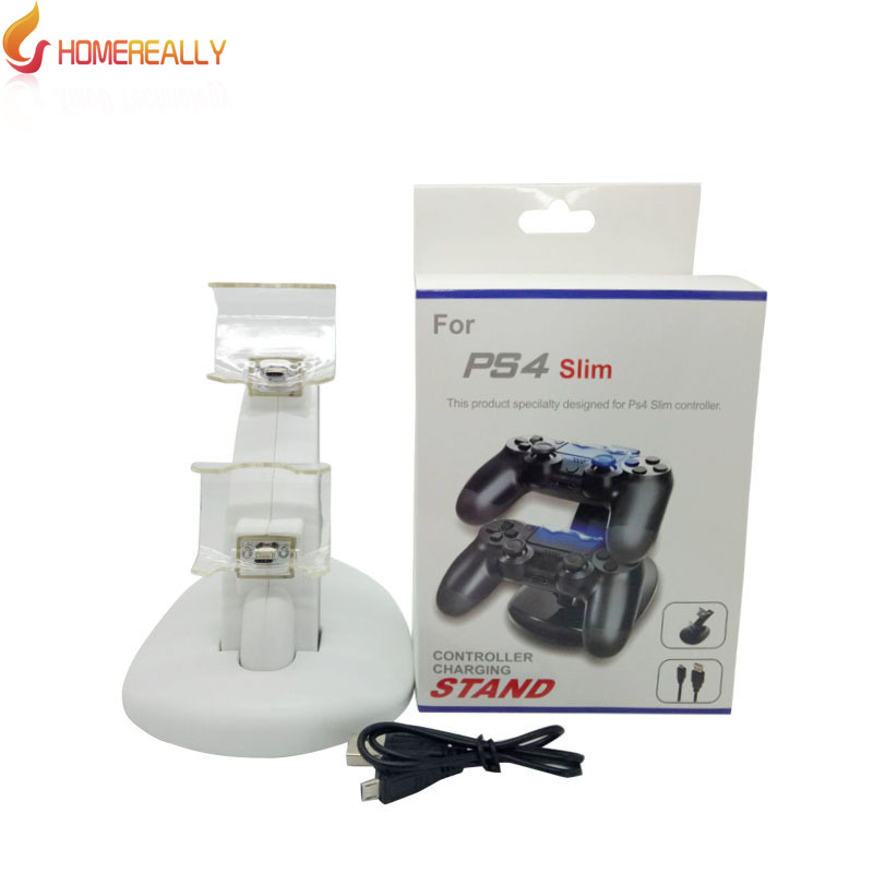 HOMEREALLY White PS4 Dual Charger USB Dock Stand Support Holder Charging for Playstation 4 and PS4 Slim Game Wireless Controller ...