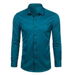 Image 4 - Purple Mens Bamboo Fiber Dress Shirt 2018 Brand New Slim Fit Long Sleeve Chemise Homme Non Iron Easy Care Formal Shirt For Men