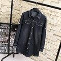 Camisas Jeans preto Mulheres Novo Estilo Plus Size 3XL 4XL Casual Turn-down Collar Camisa Longa Blusa KK1921 Branqueada