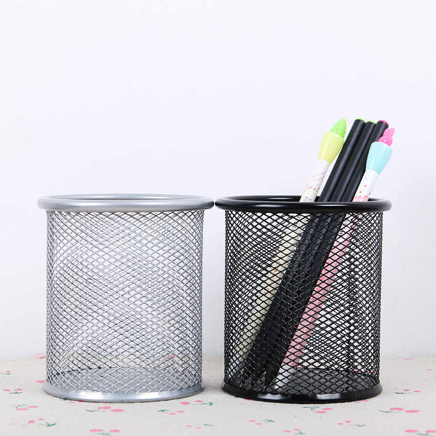 1PC Simple 5 Colors Mesh Grid Pen Pencil Pot Holder Container Metal Round Pen Holders Office Stationery Supplies