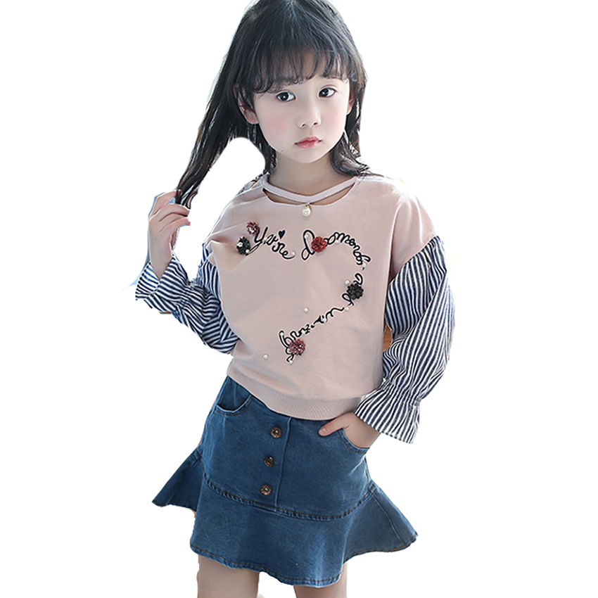 Girls Outfits Long Sleeve Floral T-Shirts & Denim Skirts 2Pcs School Kids Clothing Sets For Girls School Clothes Suits 2 8 10 12