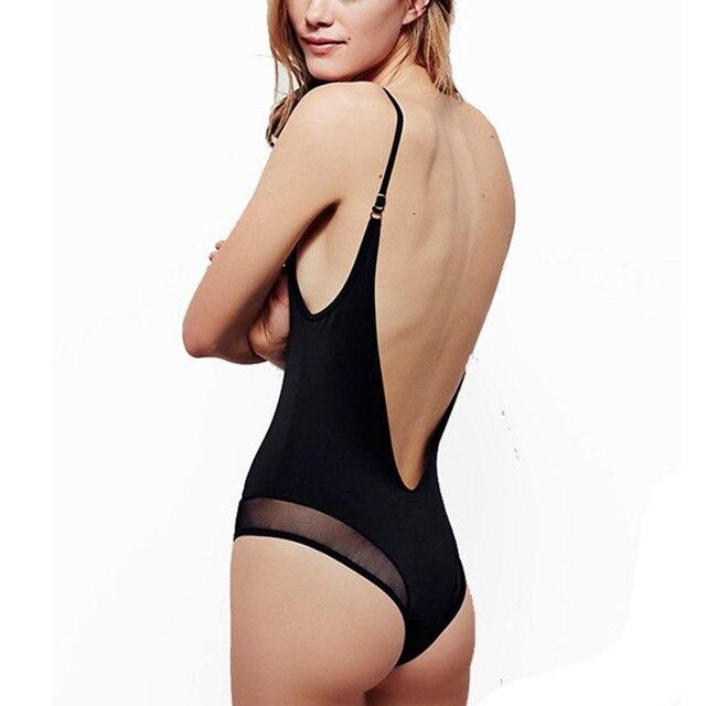 3f14123b3372e Mesh One Piece Swimsuit 2018 Women Sexy Low Back Swimwear Girls Beach  Bathing Suit Female Biquini