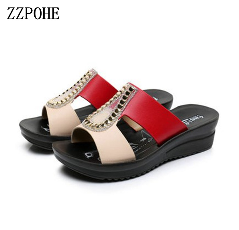 ZZPOHE Women Fashion Sandals 2018 Summer Woman Flip Flops Leather Wedges Platform Sandals Ladies Summer Slippers Shoes mint green casual sleeveless hooded top