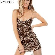 ZYFPGS 2019 Leopard Print Ladies Dress Sling Sexy Womans Casual Fashion Slim Sleeveless Nightclub Sales Z0111