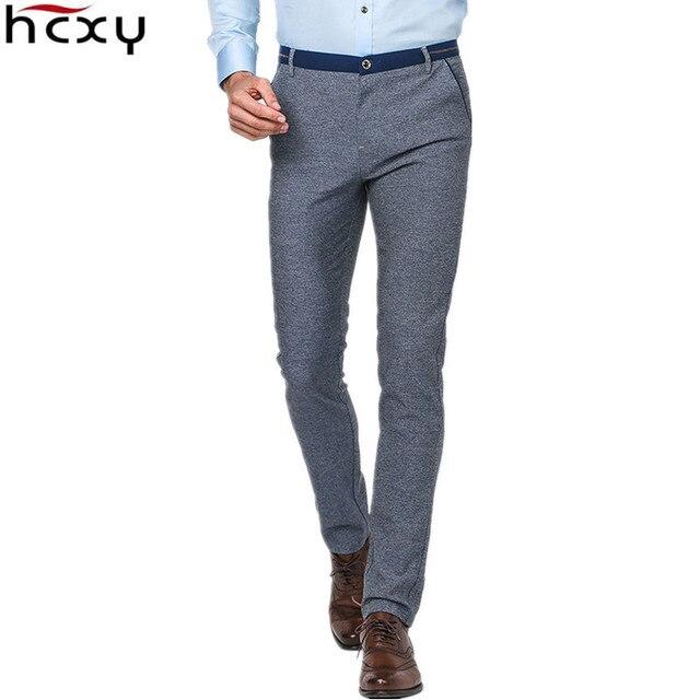 Европейский простой стиль Мужчины Летом случайные брюки Полный хлопок тонкий мягкий микро эластичная ткань тонкий коммерческий формальный брюки серо-голубой