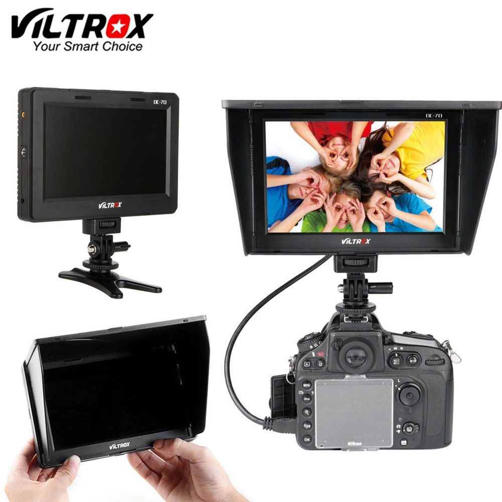 Viltrox 7'' DC-70 II 1024*600 HD LCD HDMI AV Input Camera Video Monitor Display field monitor for Canon Nikon DSLR BMPCC
