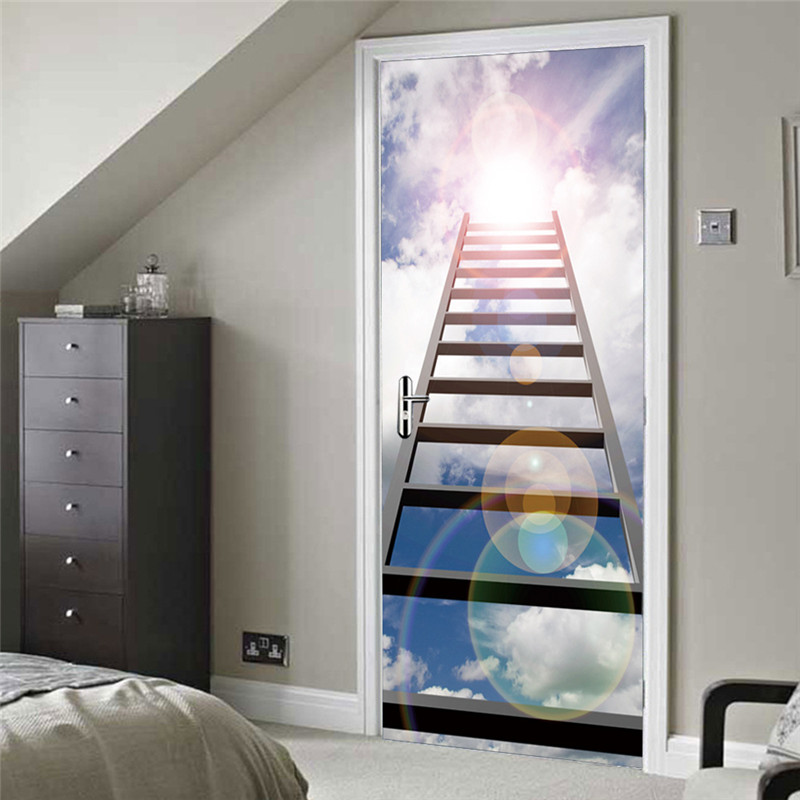 2 Pcs/Set 3D Ladder pattern Wall Stickers DIY Mural Bedroom Home Decor Poster 3D Door Stickers Removable Vinyl Wallpaper