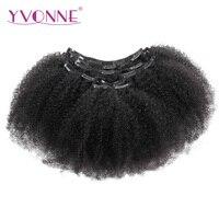 YVONNE CHEVEUX Afro Bouclés Clip En Extensions de Cheveux Humains Brésiliens Vierge Cheveux 8 pouce-28 pouce 7 Pièces/ensemble Naturel couleur 120 g/ensemble