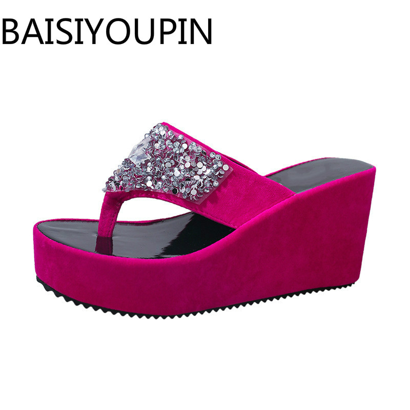 Summer Women Fashion Shoes Female Daily Flip Flops Clip Toe Sandals Wedge Muffin Ladies Slippers Rhinestone Outdoor Beach Shoes