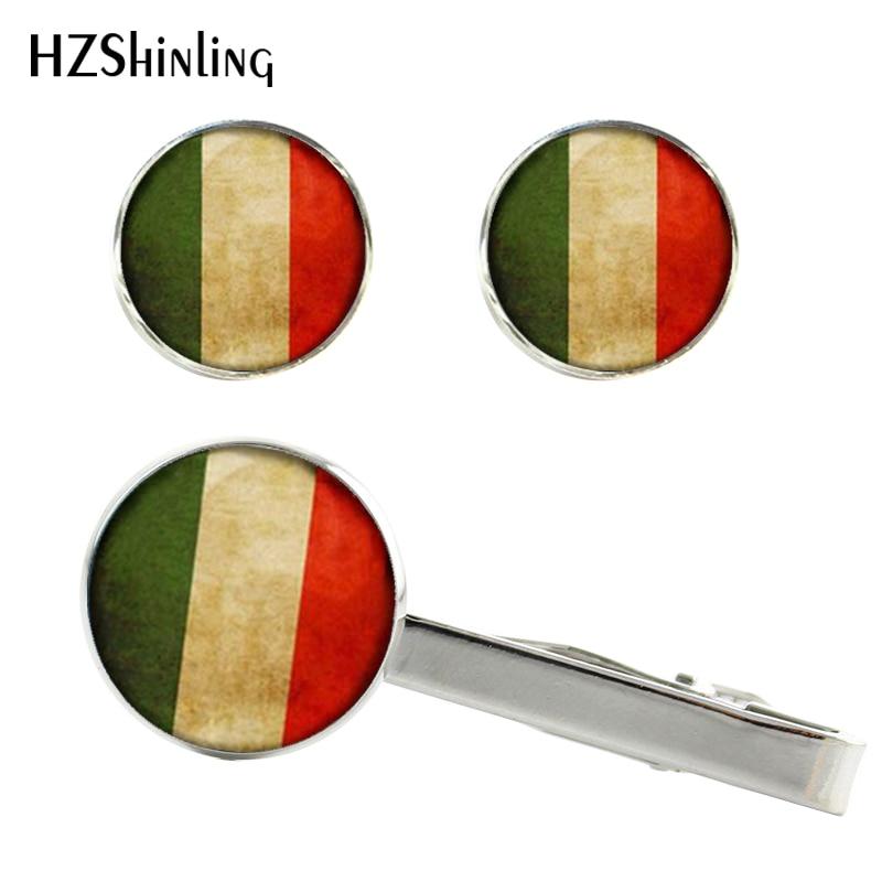 2017 Neue Italienische Flagge Clips & Manschettenknöpfe Polen Flagge Silber Krawatte Clip Fahnen Manschettenknopf Handwerk Glas Foto Manschetten Geschenke Männer Ct-0068