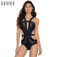 HYH HAOYIHUI Hollow Out Transparent Patchwork Black Jumpsuits Rompers V Neck Sleeveless Overalls Summer Beach Women