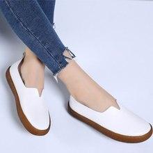 Mocasines de talla grande para mujer, zapatos planos informales cómodos, zapatos de cuero auténtico, tenis femeninos