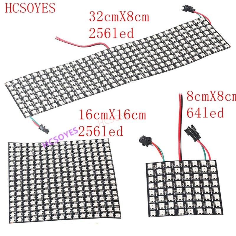 DC5V 8x8/16x16/32x8 WS2812B LED Pixel panlel 2811 ic individuellement adressable module de LED rgb LED radiateur numérique Pixels panneau