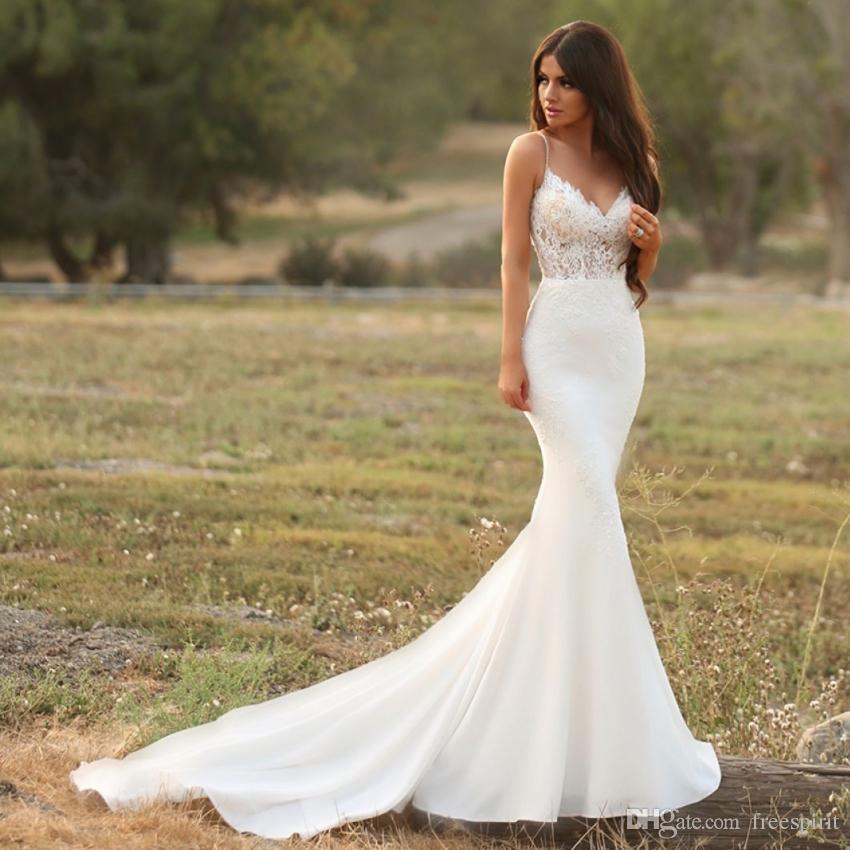 Lace Mermaid Wedding Gown With Straps: Boho Mermaid Wedding Dress Spaghetti Strap Top Lace Slim