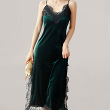 Drop Ship Streewear  Deep Green Women's sexy V-neck  Dress Hip Velvet Ladies Dress Black Lace Trim Midi Dress T12124 velvet lace trim slit cami dress