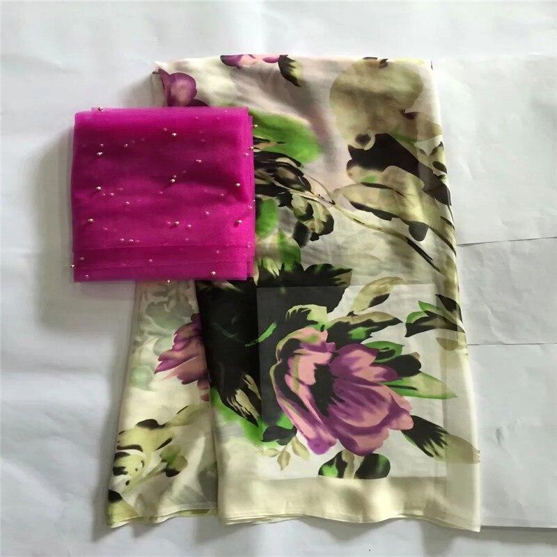 5 + 2 yards/lot de tissu de soie africaine fantaisie avec des pierres pour les impressions de robe tissu de soie rayonne tissu de burnout textile à coudre! LXE032720