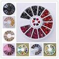 1 Caja de Mezcla de Color 3D Decoración Colorida Decoración En Rueda de Obleas Redondas DIY Manicura de Uñas Accesorios Del Arte Del Clavo