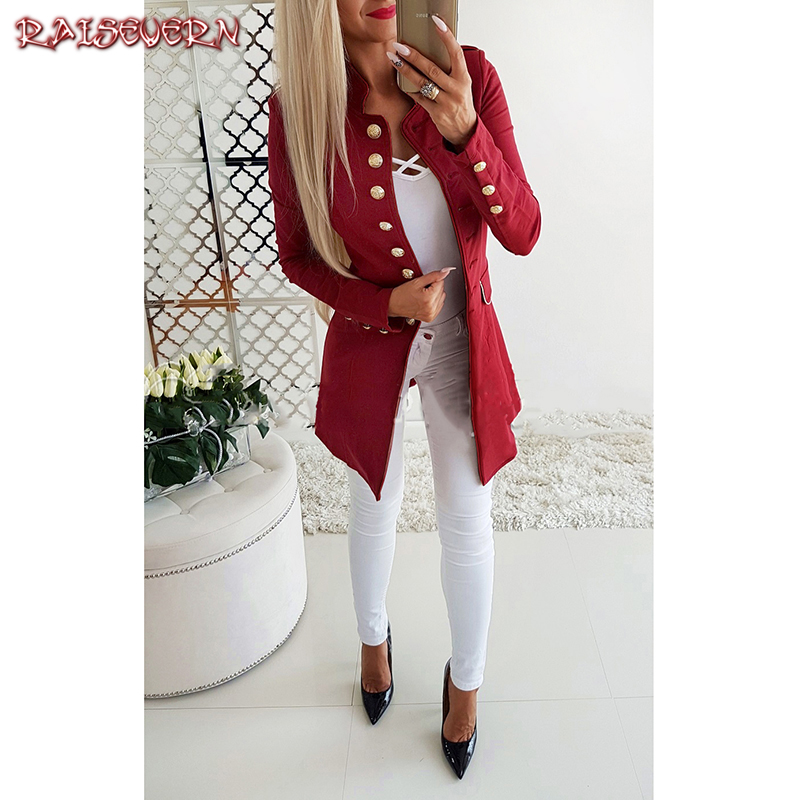 RAISEVERN Womens Jackets And Coats Slim Fit Blazer Women Formal Jackets Office Work Notched Ladies Blazer Coat feminino 2018