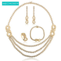 MECHOSEN Stunning Zirconia Jewelry Sets Number 8 Shape Statement Necklace Earrings Bracelet Ring For Women Engagement Wedding