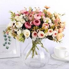 Seda DIY Margarita Camelia flores artificiales pequeña Rosa novia ramo decoración de fiesta de Navidad flores falsas boda decoración del hogar