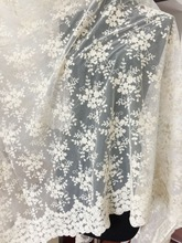 1 yard Beige daisy cotton lace fabric, floral fabric for boho wedding dress, gown