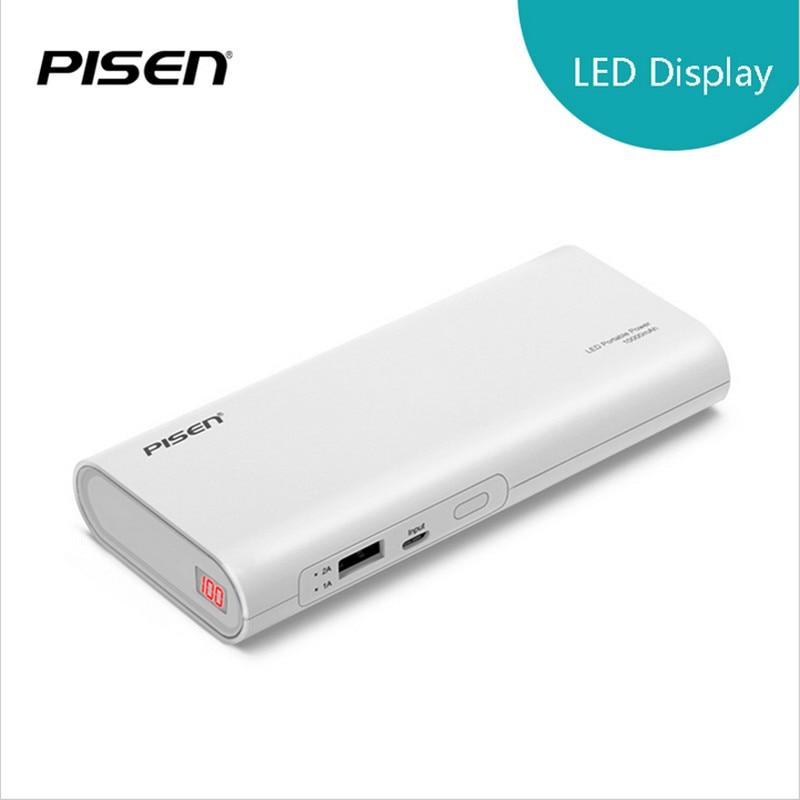 imágenes para PISEN 18650 Banco de la Energía 10000 mAh Portable Cargador de Batería Externo Móvil USB 2A Cargador Rápido con Pantalla LCD de Envío de La Gota