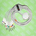 Compatible with Siemens, Hellige, Custo-med, DEGO EKG Machine,One-piece ECG cable and leadwires,15PIN,3.0 DIN,IEC or AHA.