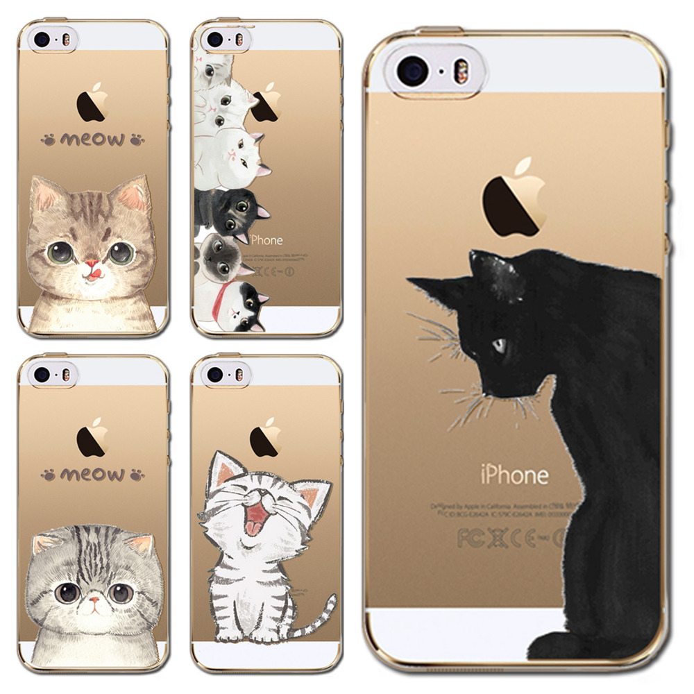 for iphone 4 4s coque capa phone case colorful cat kitten meow design patterns soft clear. Black Bedroom Furniture Sets. Home Design Ideas