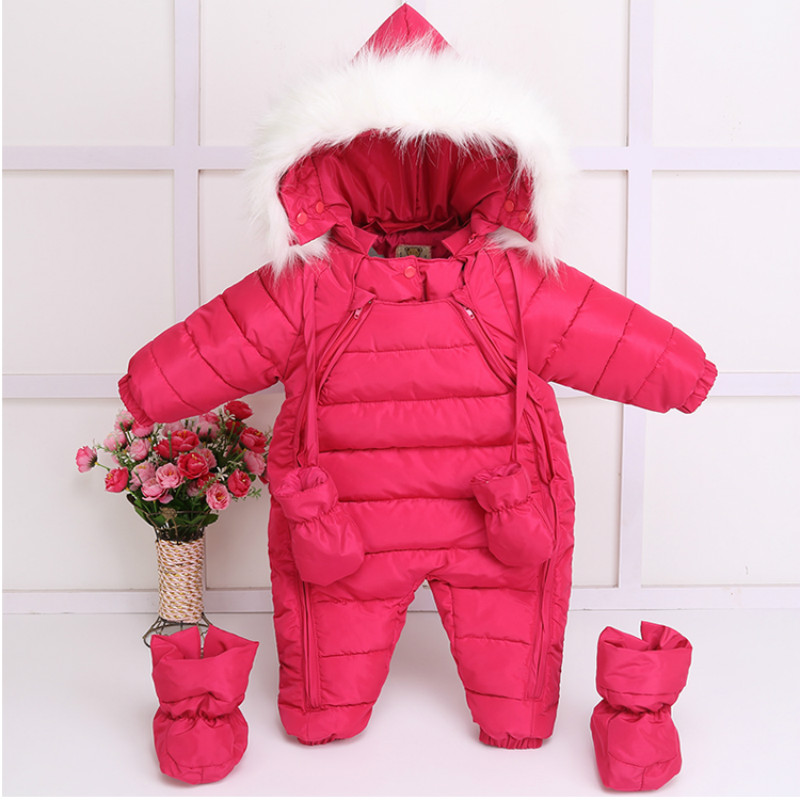 Infant Baby Snowsuit New Winter Baby Boy Girl Outerwear Outfits Down Parkas Hooded Thermal Newborn Baby Snow Wear Jumpsuit baby winter outerwear