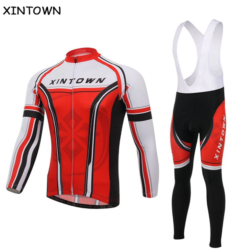 XINTOWN Red Men Women Cycling long-sleeved jersey suits Bicycle Sports breathable jacket bike clothes cycling clothes long pants xintown men s cycling long jersey top padded pants set black purple multi color m