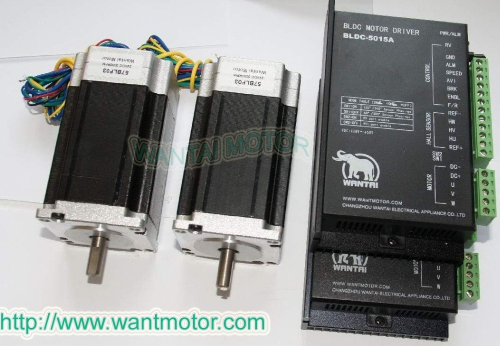 2 Axis 57BLF03 Brushless DC Motor 188W,24VDC,3000RPM rated speed& Driver CNC Kit BLDC-8015A,80VDC,
