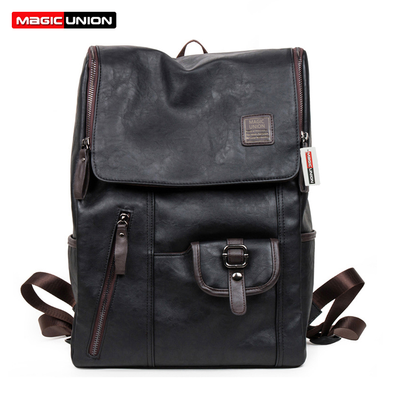 MAGIC UNION Hot Sale Oil Wax Paper Leather Backpacks Western style Fashion Bag For Men Travel Mochila Zip Casual Daypacks magic union men s patent leather backpacks high quality bags fashion bag for men business travel mochila zip men laptop backpack