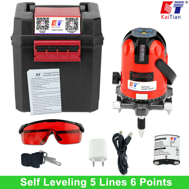 KaiTian Laser Level Battery 5 Lines 6 Points Level with Slash Function/360 Rotary Self Lleveling Outdoor EU 635nm Lazer Levels лазерный уровень kaitian 635nm 5 6 5 lines 6 points laser level
