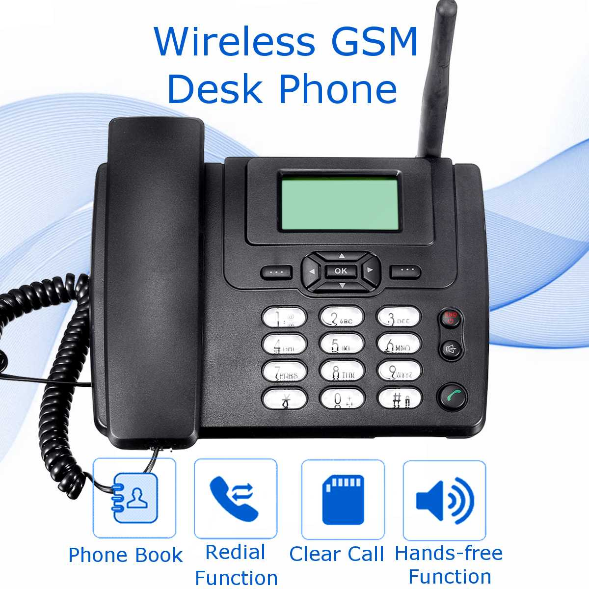 Wireless GSM Desk Mobile Phone SIM Card Desktop TNC Antenna Interface