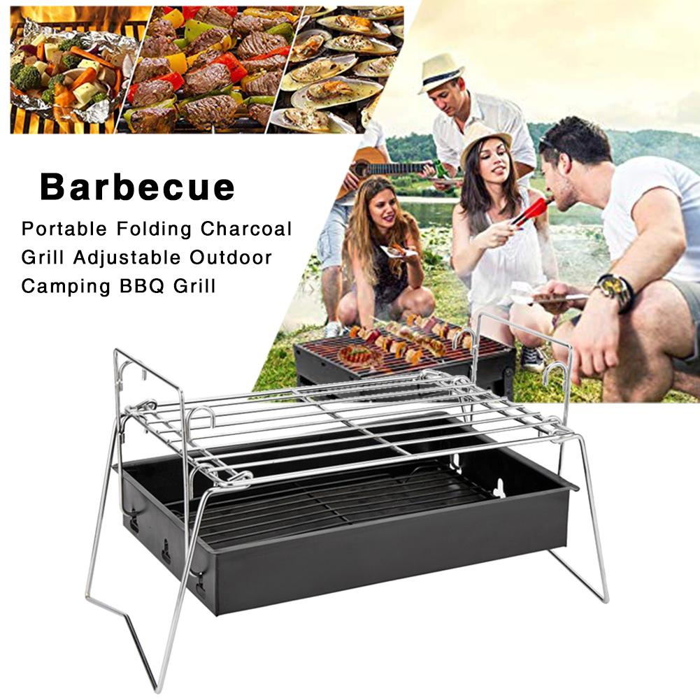 Portable Folding Charcoal Grill Adjustable Outdoor Camping BBQ Grill Barbecue Accessories For Home Park