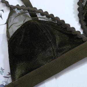 Image 4 - Wriufred קטיפה רשת טלאי נשים של תחתוני Ultra דק שקוף חלול חזיית תחתוני סטים משולש כוס סקסי הלבשה תחתונה