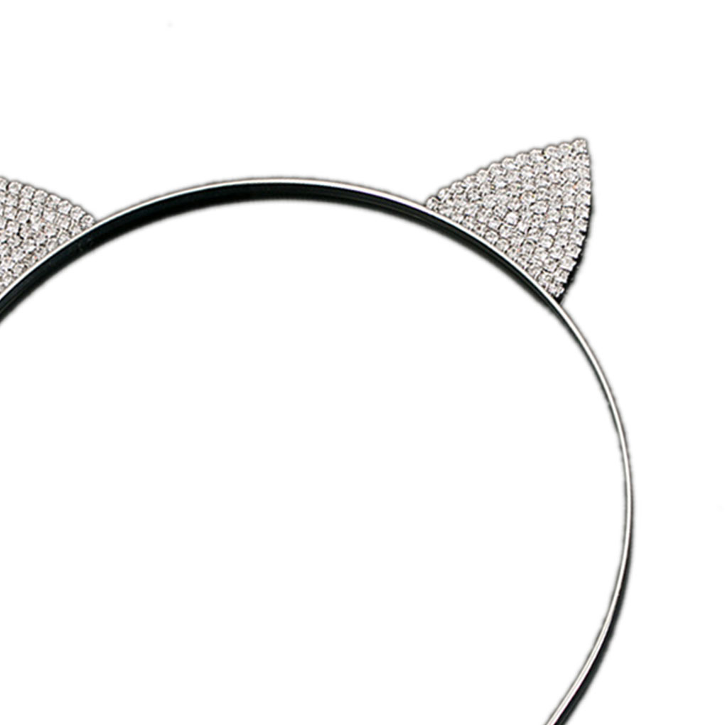 Women's Hair Accessories 2 Pcs Korean Cat Ears Slim Headbands Glitter Rhinestone Studded Hair Hoop Headpieces Accessories