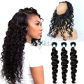 7A Soft  Peruvian Virgin Hair Loose Deep Curly 360 Full Lace Frontal Closure With Bundles  #1B Adjustable Straps With Baby Hair
