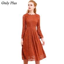 ONLY PLUS Hollow Out Lace Dress Women Party Dresses Elegant A-line Long Sleeve Orange Sweet O-Neck Female Spring Autumn Vestidos
