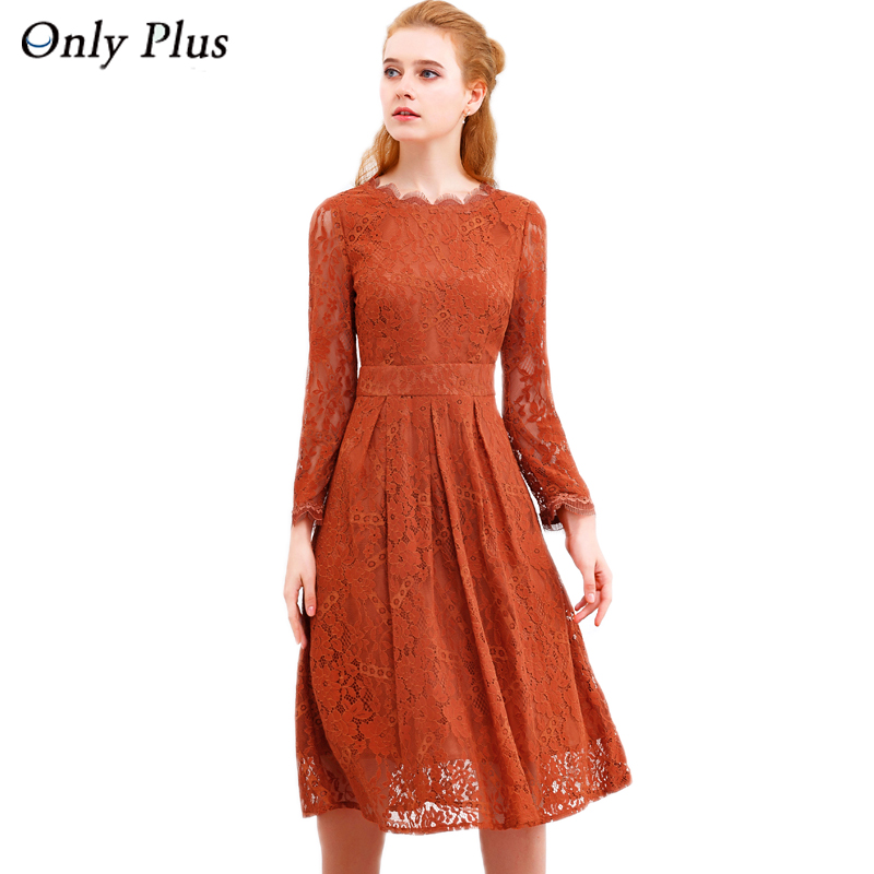 ONLY PLUS Hollow Out Lace Dress Women Party Dresses Elegant A line Long Sleeve Orange Sweet O Neck Female Spring Autumn Vestidos