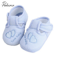 2017 Brand New Cute Toddler Infant Newborn Baby Boy Girl Crib Moccasin Shoes Kids Soft Soled Cotton Shoes Cute First Walkers(China)