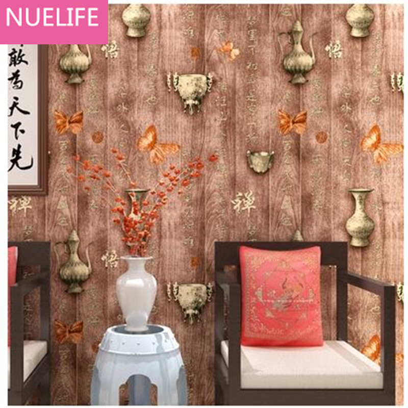 0.53x10m Chinese Wooden  Vase Butterfly Wallpaper Living Room Restaurant TV Background Study Bedroom Non-woven Wallpaper N2