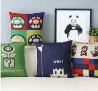 Super Mario Fun Game Cartoon Personality Cotton Pillowcase Car Cushion Cover Birthday Gift Office Pillowcase