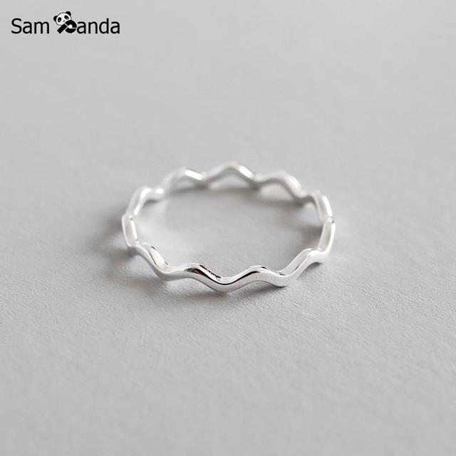 100% Pure 925 Sterling Silver Ring Fashion Simple Curve Wave Ring Thin Geometric finger Ring For Women Jewelry Anti Allergy