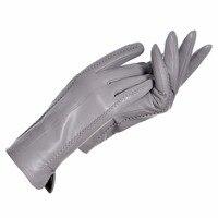 YCFUR Genuine Leather Gloves Women Warm Lady Genuine Sheepskin Gloves Warm Lining Winter Female Gloves Leather