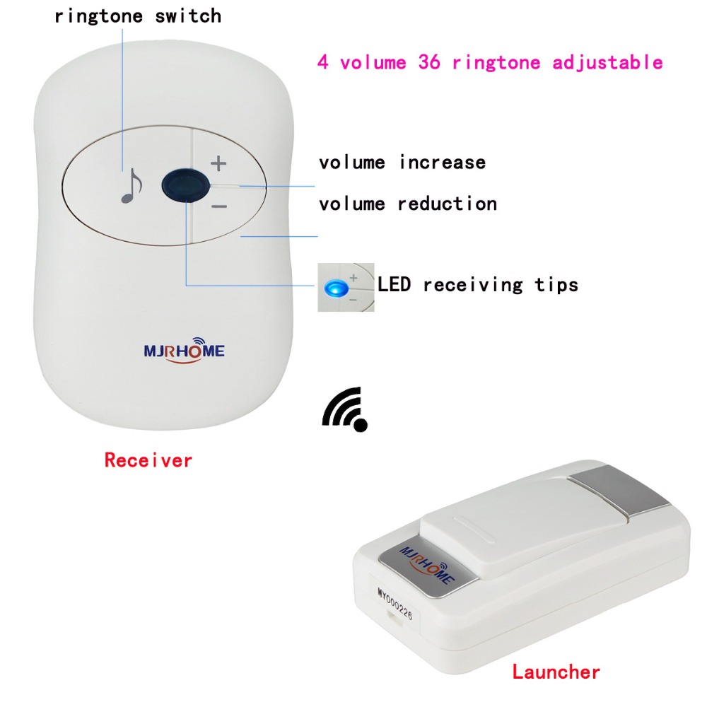 36 Ringtone Wireless Doorbell Access Control Waterproof 1pcs Transmitter Button/Launcher+1pcs Receiver 300m F3308B wireless home security door bell call button access control with 1pcs transmitter launcher 1pcs receiver waterproof f3310b