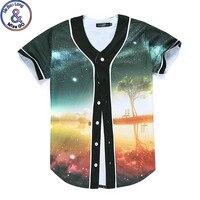 Mr BaoLong Baseball Tee Shirt 3D Print Space Galaxy Dusk Tree Bullet Design Lovers T Shirts