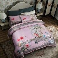 Posodono 4PCs Luxury flower floral duvet covers 100S 100% pure Egyptian cotton pastoral bedding set queen king size
