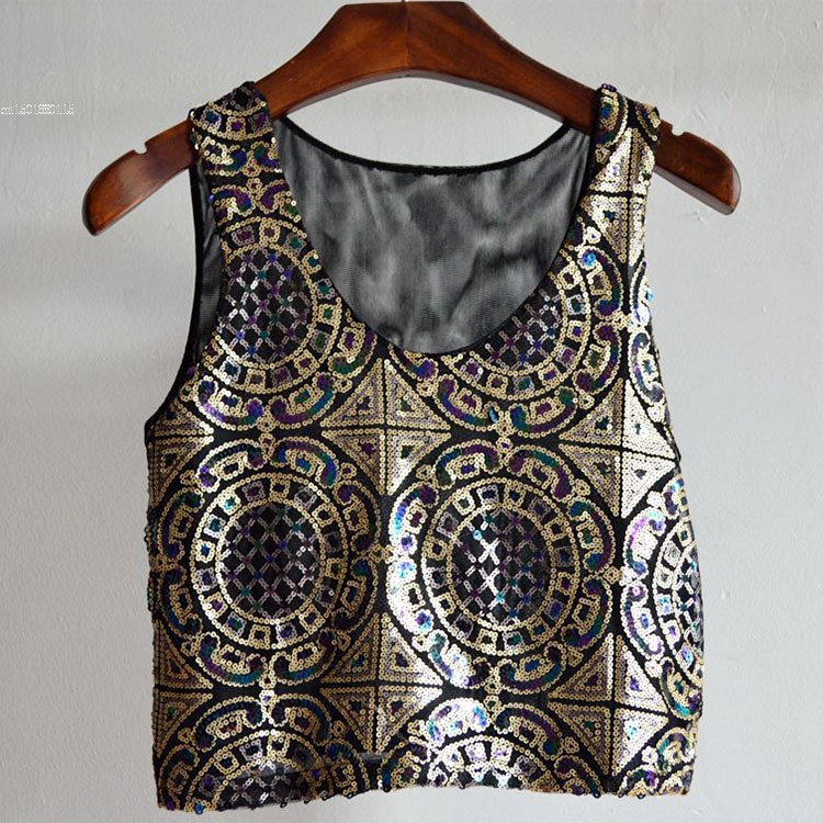 00342d8bec1c7 Summer Style Women Tops Fashion Sexy Women s Sleeveless Sequin O neck Crop Tops  Tank Tops 10-in Tank Tops from Women s Clothing on Aliexpress.com